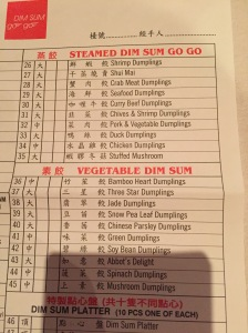 The Dumpling menu at Dim Sum Go Go