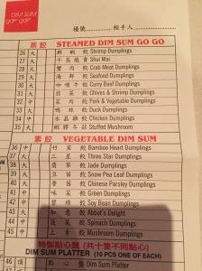 The Dumpling menu at Dim Sum Go Go