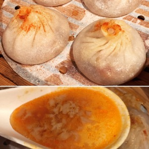 Spicy Pork Soup Dumplings and their chili oil infused soup