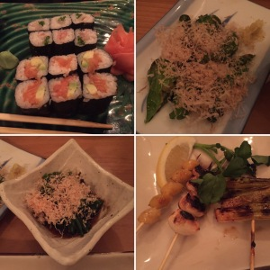 Clockwise from top left: Salmon suhi rolls; grilled Shishito pepers; garlic, gingko nut and scallion skewers; Oshitaki