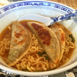 Hot Vegetable Dumplings with Nongshim Soon Veggie Ramen