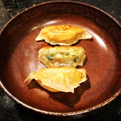 Pan-fried dumplings presented on a plate made by the Dumpling Hunter