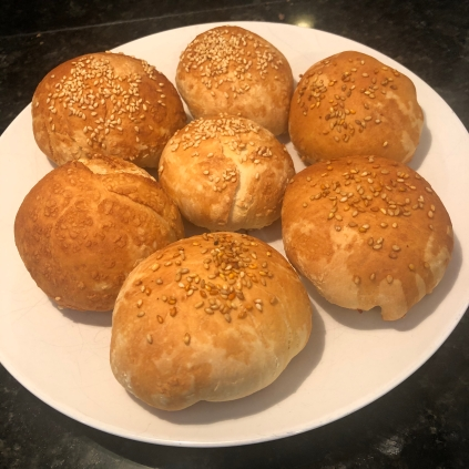 Baked veggie bao